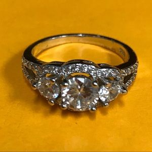 Jewelry - Sterling Silver CZ Three Stone Ring Size 9
